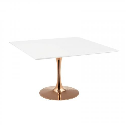 """Lippa 47"""" Square Dining Table in Rose White"""