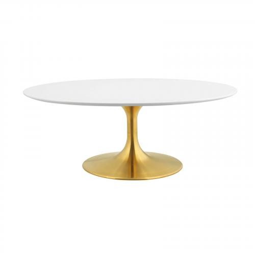 """Lippa 42"""" Oval-Shaped Coffee Table in Gold White"""