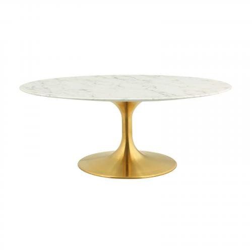 """Lippa 42"""" Oval-Shaped Artifical Coffee Table in Gold White"""