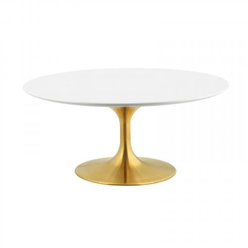 "Lippa 36"" Coffee Table in Gold White"