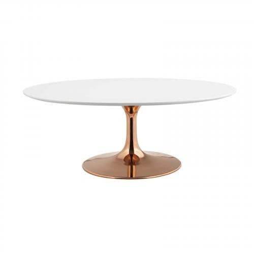 "Lippa 42"" Oval-Shaped Coffee Table in Rose White"