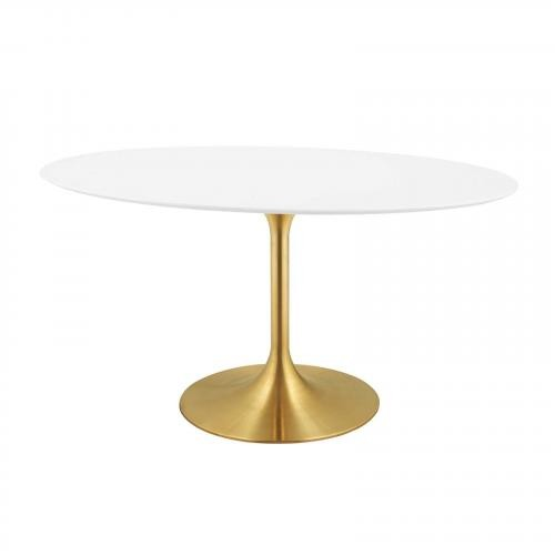 """Lippa 60"""" Oval Dining Table in Gold White"""
