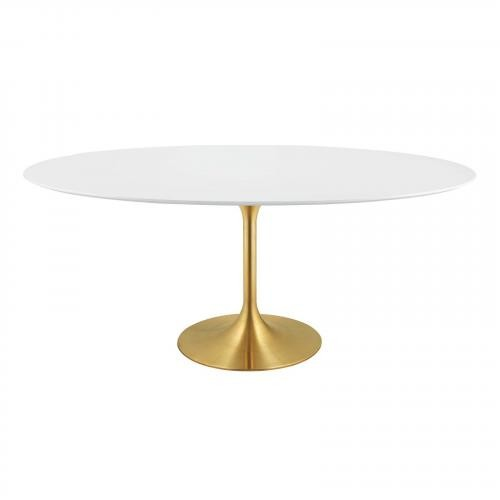"""Lippa 78"""" Oval Dining Table in Gold White"""