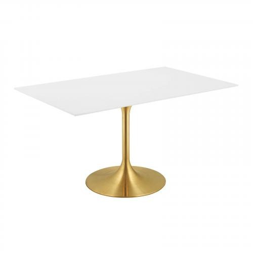 """Lippa 60"""" Rectangle Dining Table in Gold White"""