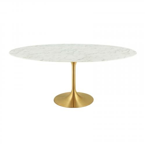 "Lippa 78"" Oval Dining Table in Gold White"