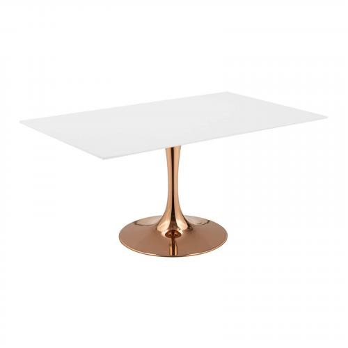 """Lippa 60"""" Rectangle Dining Table in Rose White"""
