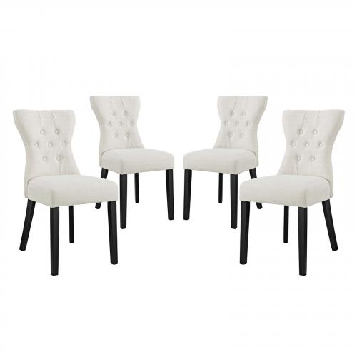 Silhouette Dining Side Chairs Upholstered Fabric Set of 4
