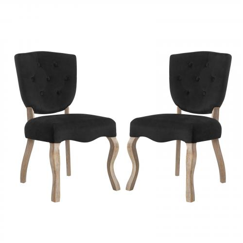 Array Dining Side Chair Set of 2 with Velvet Polyester Upholstery