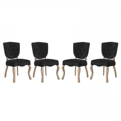 Array Dining Side Chair Set of 4 with Velvet Polyester Upholstery