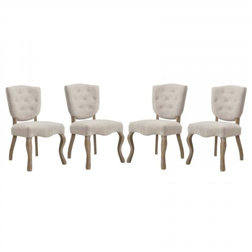 Array Dining Side Chair Set of 4 with Soft Polyester Upholstery