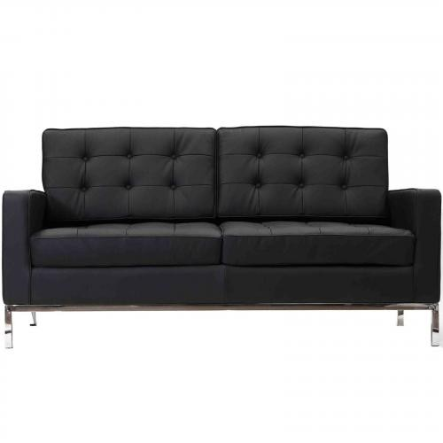 Florence Knoll Style Loveseat Couch - Leather