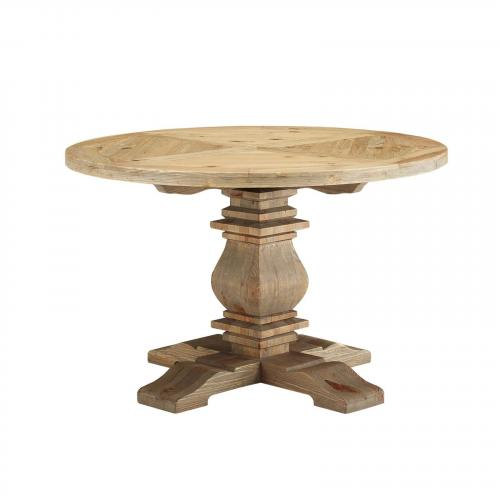 """Column 47"""" Round Pine Wood Dining Table in Brown"""