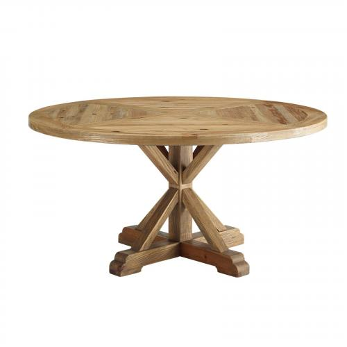 "Stitch 59"" Round Pine Wood Dining Table in Brown"