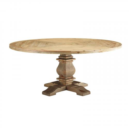 "Column 71"" Round Pine Wood Dining Table in Brown"