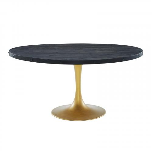 """Drive 60"""" Round Wood Top Dining Table in Black Gold"""