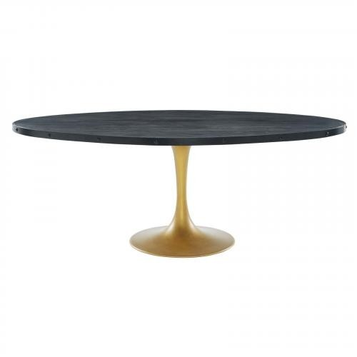 """Drive 78"""" Oval Wood Top Dining Table in Black Gold"""
