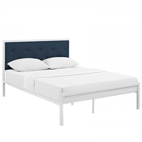 Lottie King Fabric Bed in White Azure