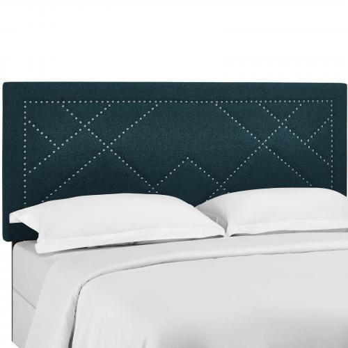 Reese Nailhead King and California King Upholstered Linen Fabric Headboard