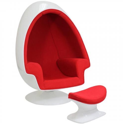 Aarnio Style Alpha Shell Egg Chair & Ottoman