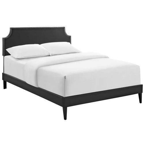 Corene Queen Vinyl Platform Bed with Squared Tapered Legs