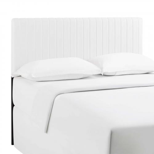 Keira Full/Queen Faux Leather Headboard in White