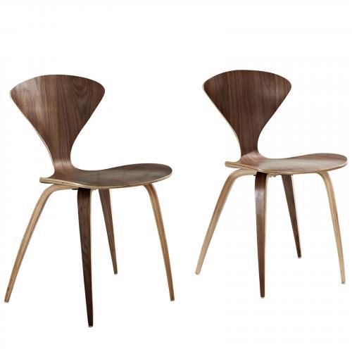 Vortex Dining Chairs Set of 2 in Dark Walnut