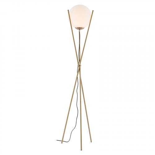 Antwerp Floor Lamp in White & Brushed Brass
