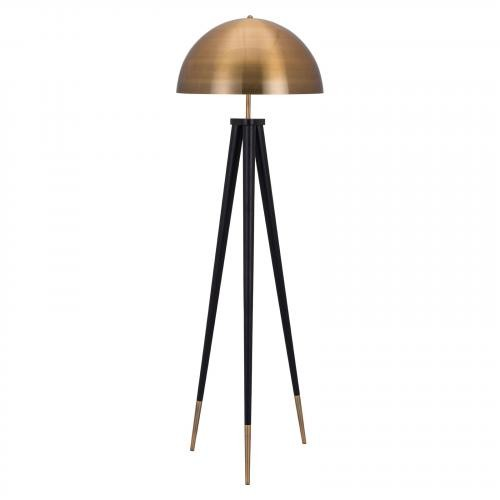 Mascot Floor Lamp in Brass & Black