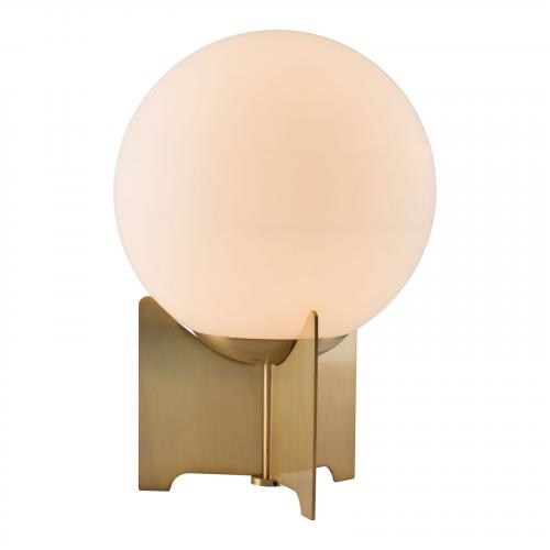 Pearl Table Lamp in White & Brushed Bronze