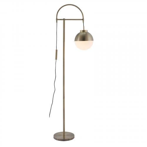 Waterloo Floor Lamp in White & Brushed Brass