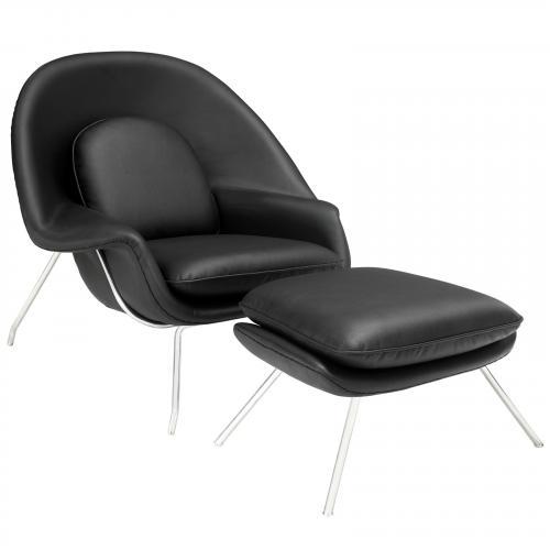 Saarinen Style Womb Lounge Chair - Leather