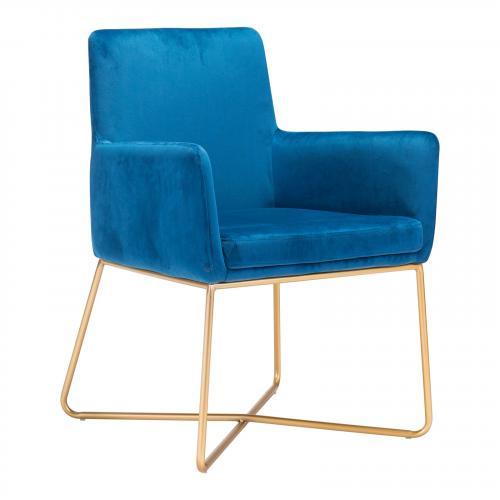 Honoria Arm Chair in Blue Velvet