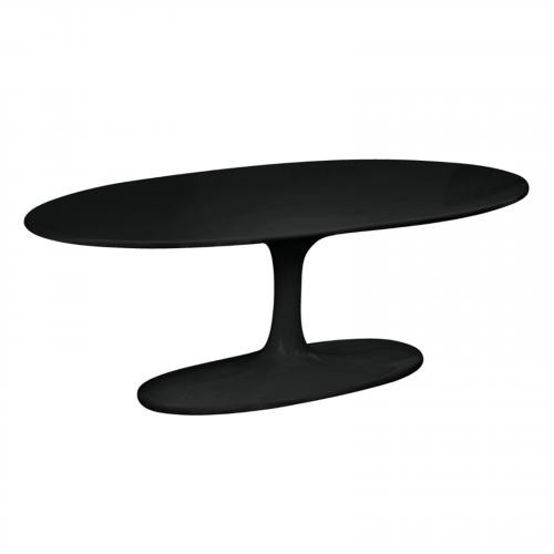 Flower Coffee Table Oval Fiberglass in Black