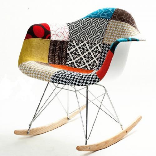 Patterned Rocker Arm Chair