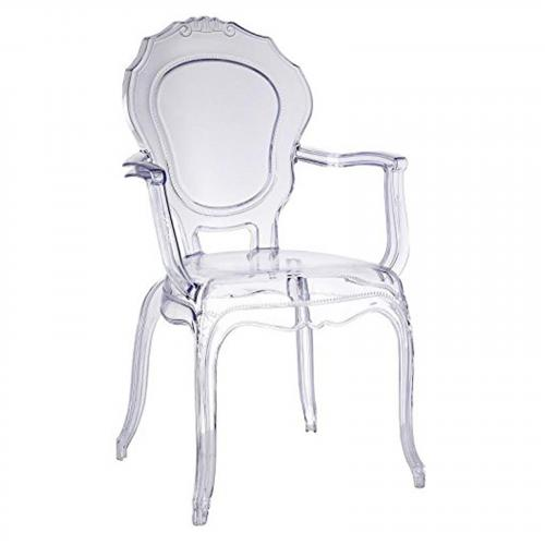 Traditional Dining Chair with Arms in Clear