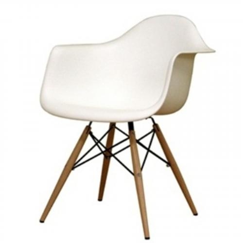 WoodLeg Dining Arm Chair in White