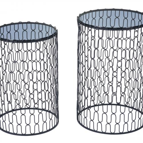 Amelia Side Tables Set of 2 in Black & Gold