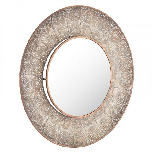 Avila Large Round Mirror in Antique Gold