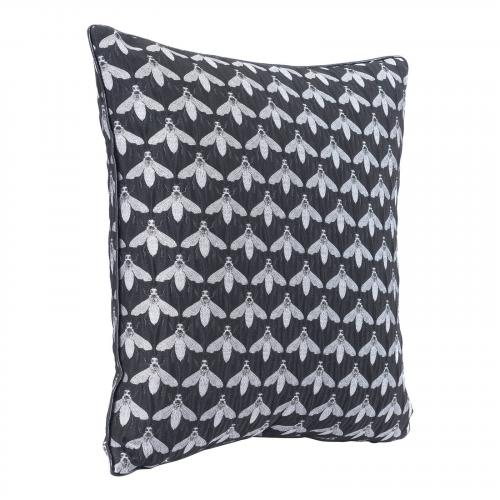 Bees At Night Pillow in Black