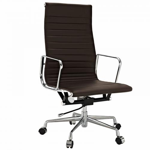 Classic Alum. Executive Office Chair Brown