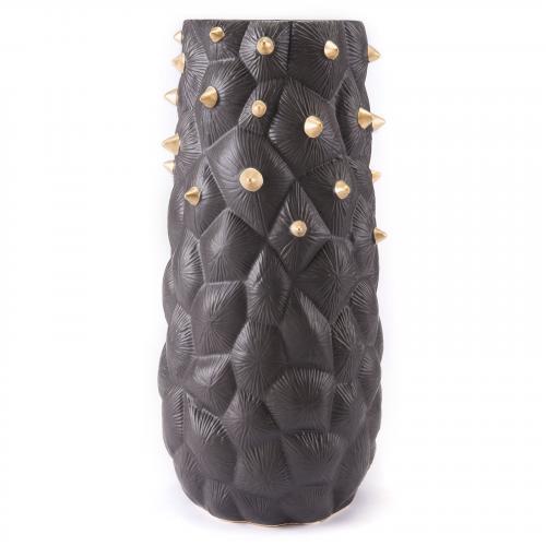 Black Cactus Vase Large Black & Gold