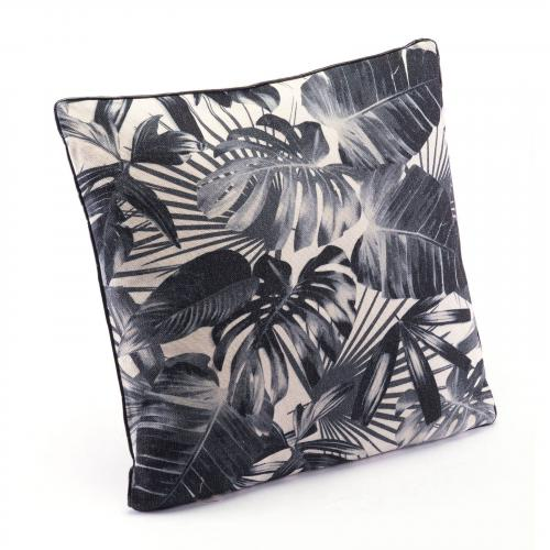 Black Jungle Pillow in Black & Beige