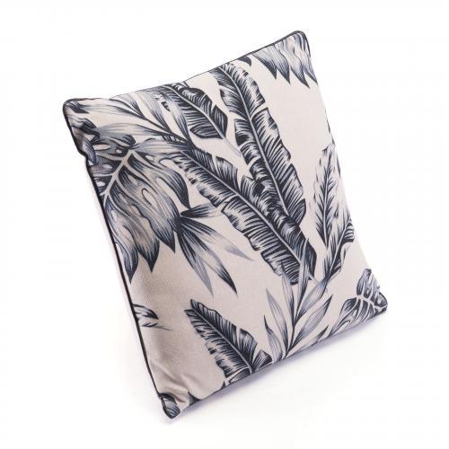 Black Leaves Pillow in Black & Beige