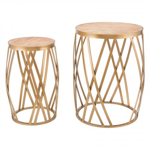 Criss Cross Tables Set of 2 in Gold
