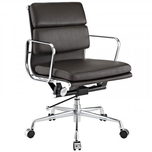 Classic Padded Mid Back Office Chair Brown