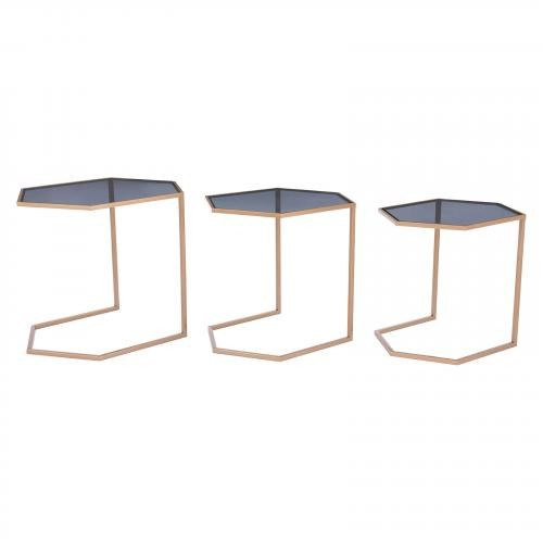 Geo Nesting Tables Set of 3 in Black & Gold