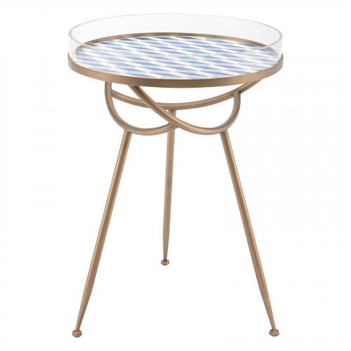 Lattice Round Table in Blue
