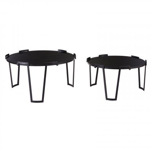 Set of 2 Nesting Coffee Tables Black