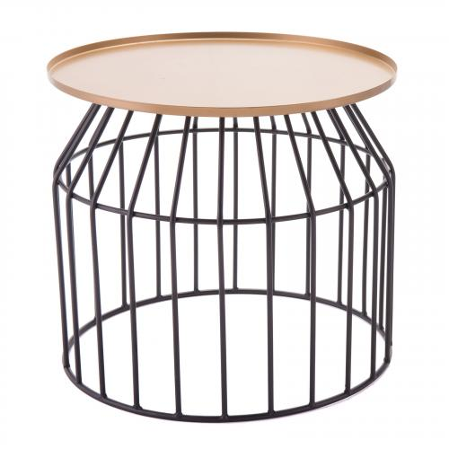 Tray End Table Large in Gold & Black