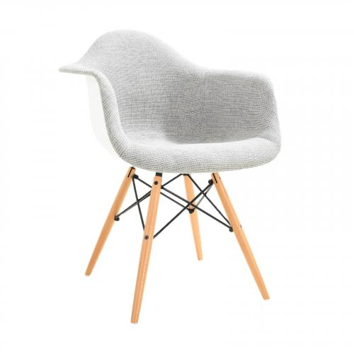 Vortex Padded Arm Chair with Natural Base